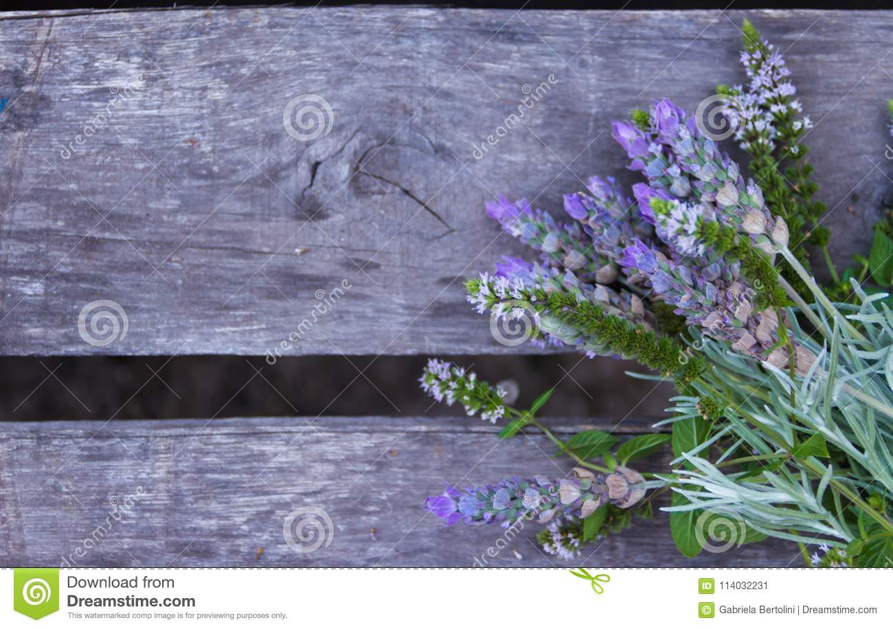Decorative Border Of Lavender On Old Rustic Wood And Gray Stock
