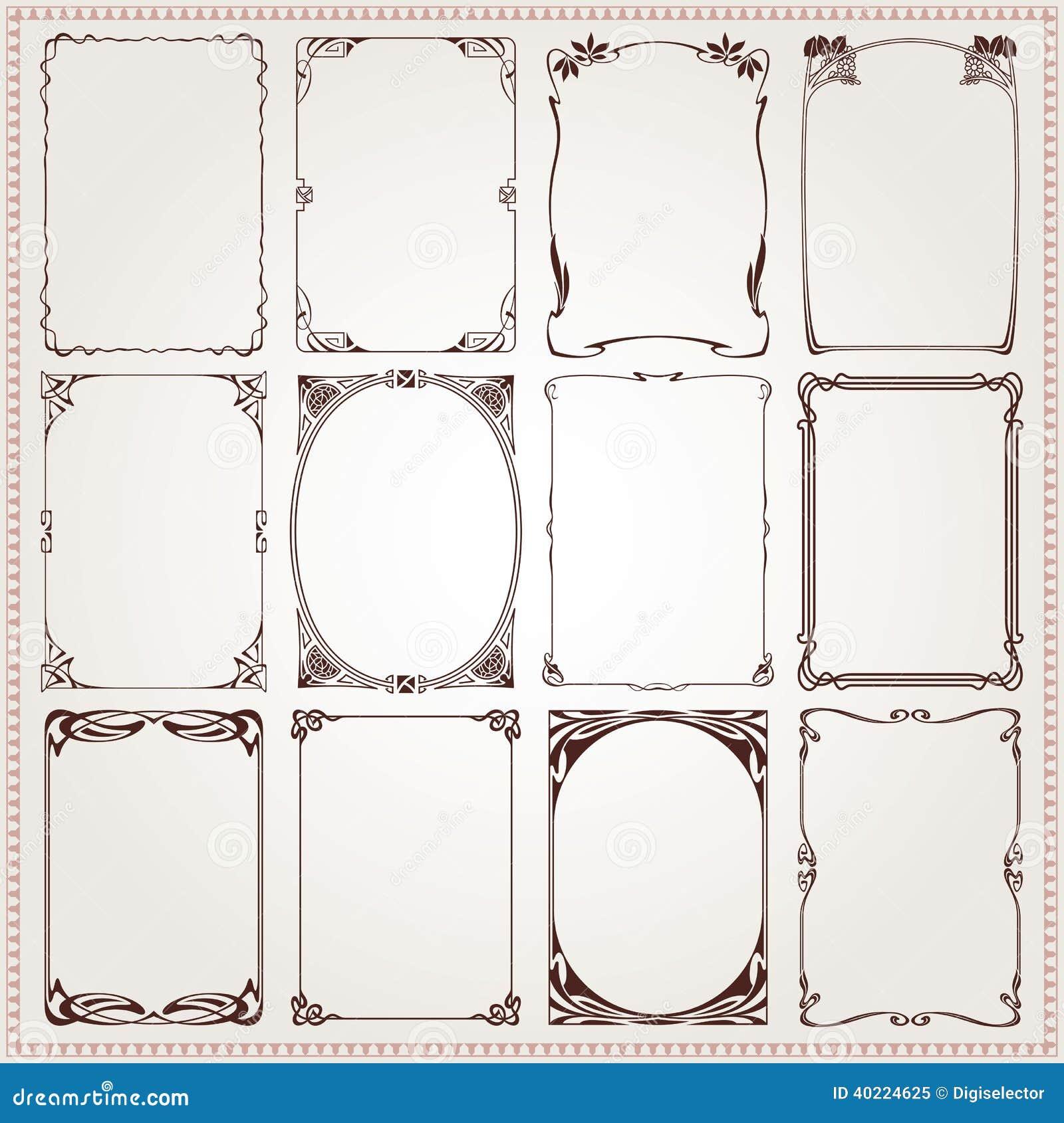 Decorative borders and frames Art Nouveau style vector