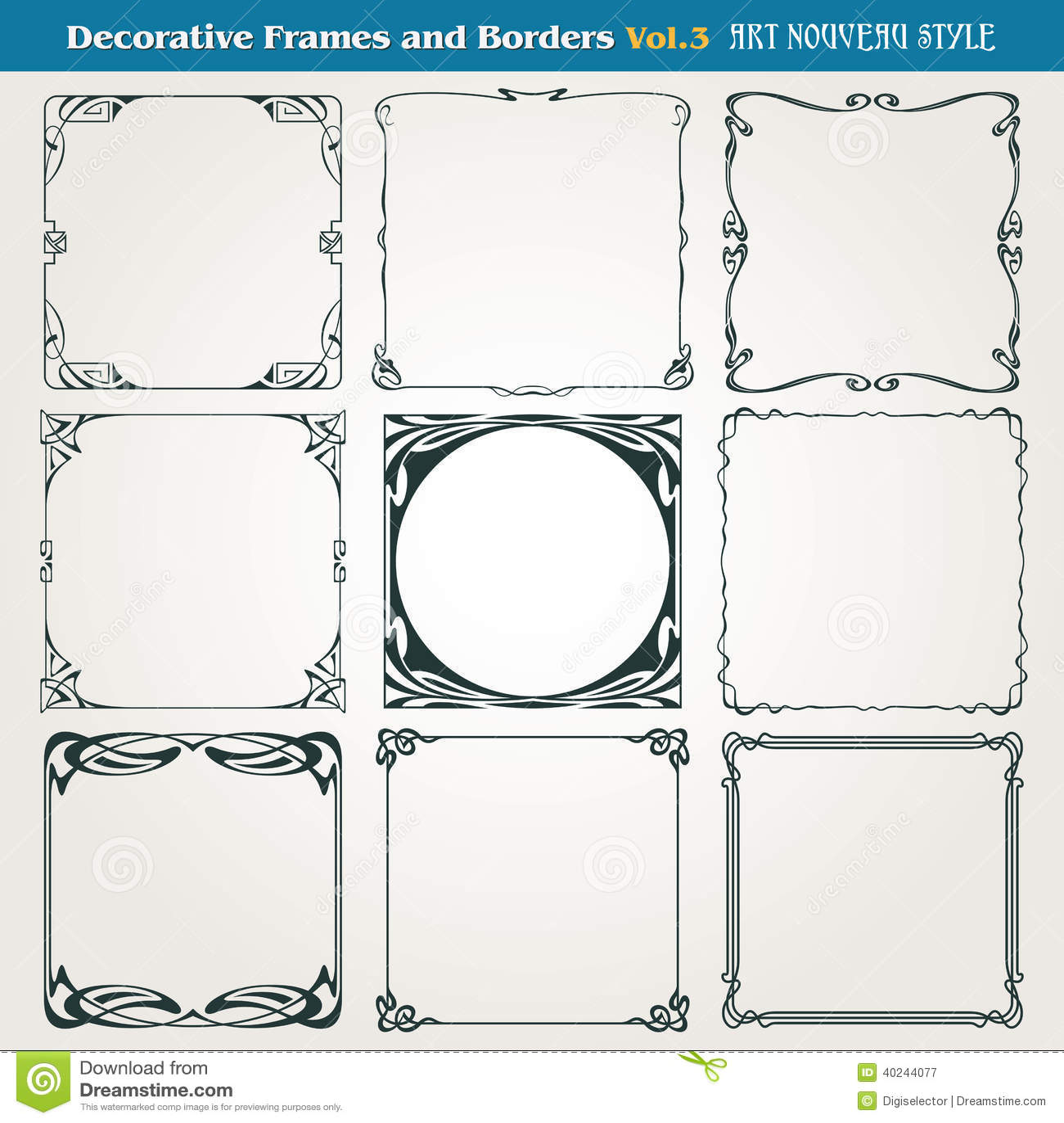 Decorative Borders And Frames Art Nouveau Style Vector ...