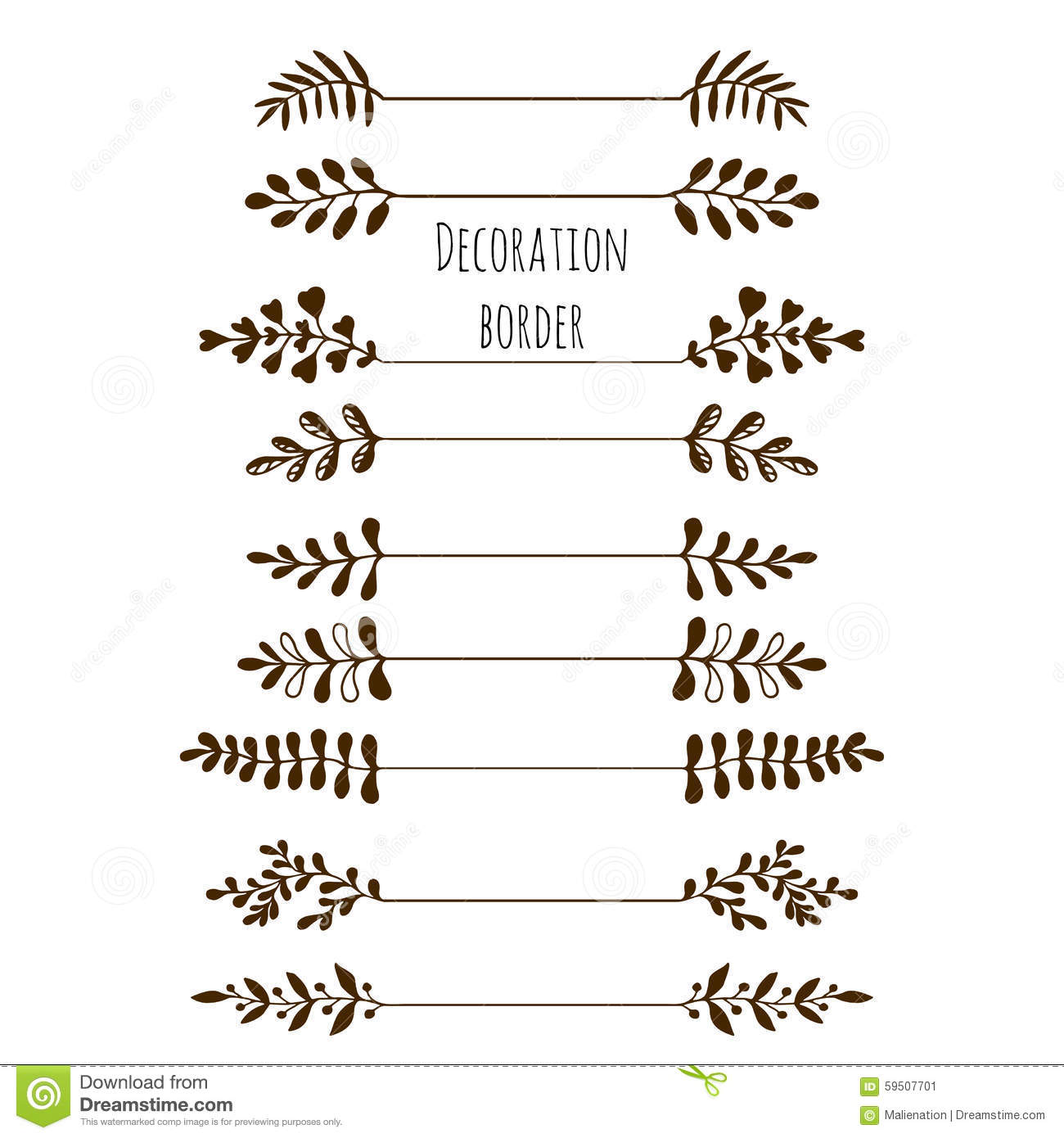 Decorative Borders Hand Drawn Vintage Border Set With