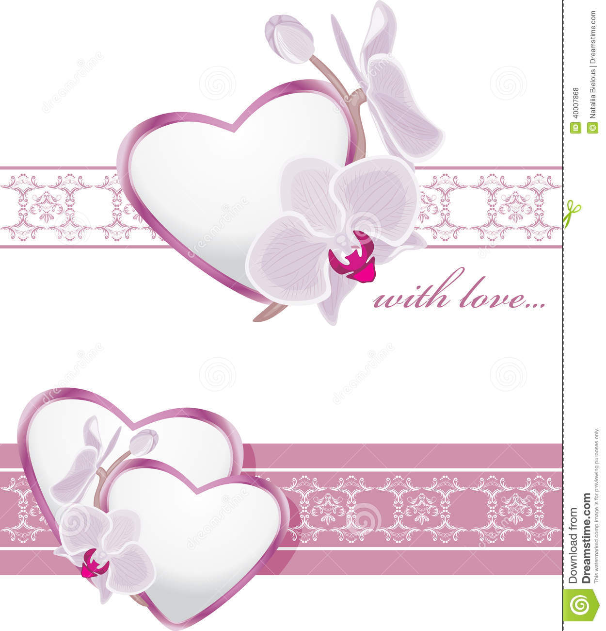 Decorative Borders With Hearts And Blooming Orchids Stock Vector ...