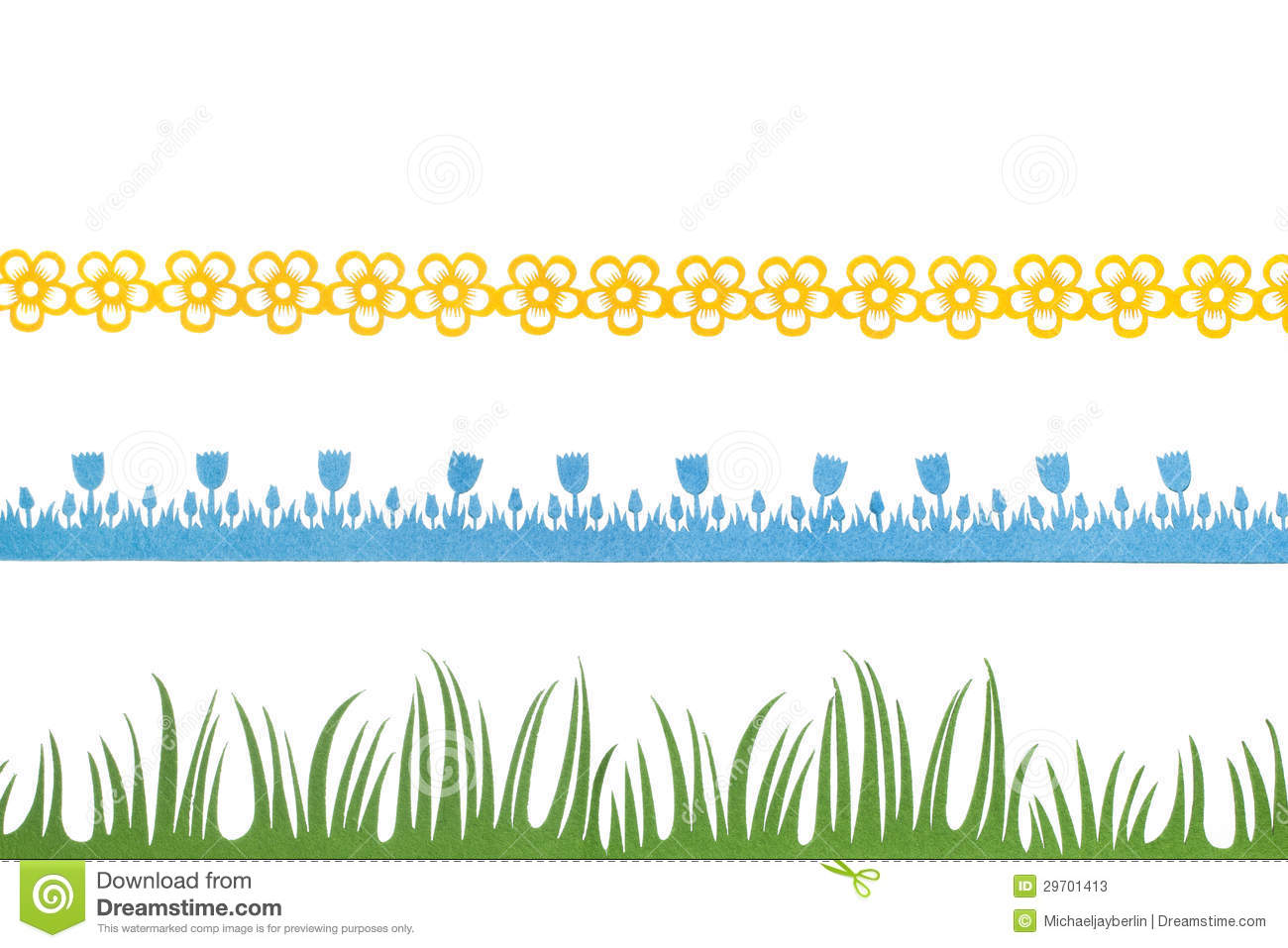 Spring Felt Borders Flowers Blue Tulips And Grass