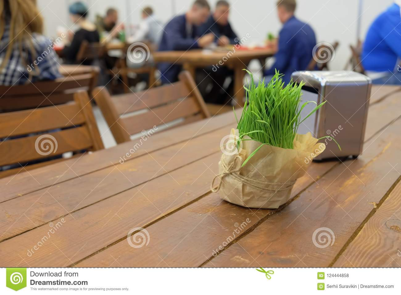 Decorative Bouquet Of Green Fresh Grass On A Vacant Table In Rustic Style Cafe Copy Space For Text