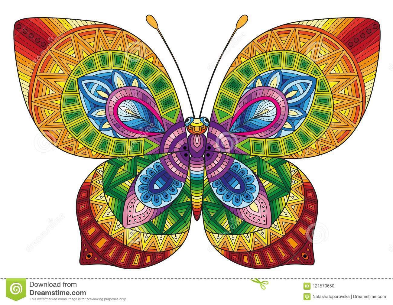 Vector Coloring Book For Adults. Decorative Butterfly Of Bright ...