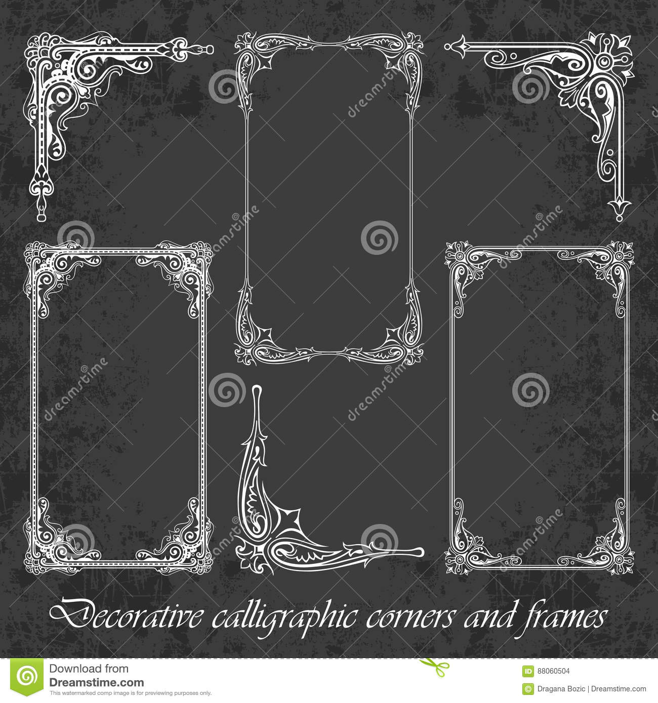 Decorative Calligraphic Corners And Frames On A Chalkboard