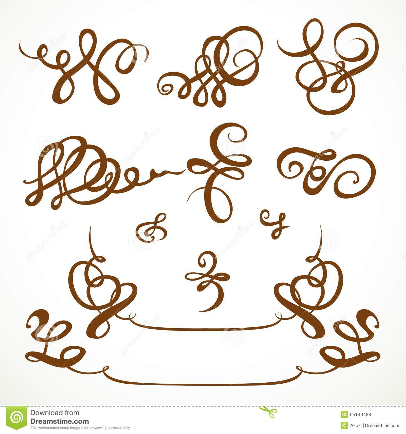 Decorative Calligraphic Flourishes Stock Vector Image