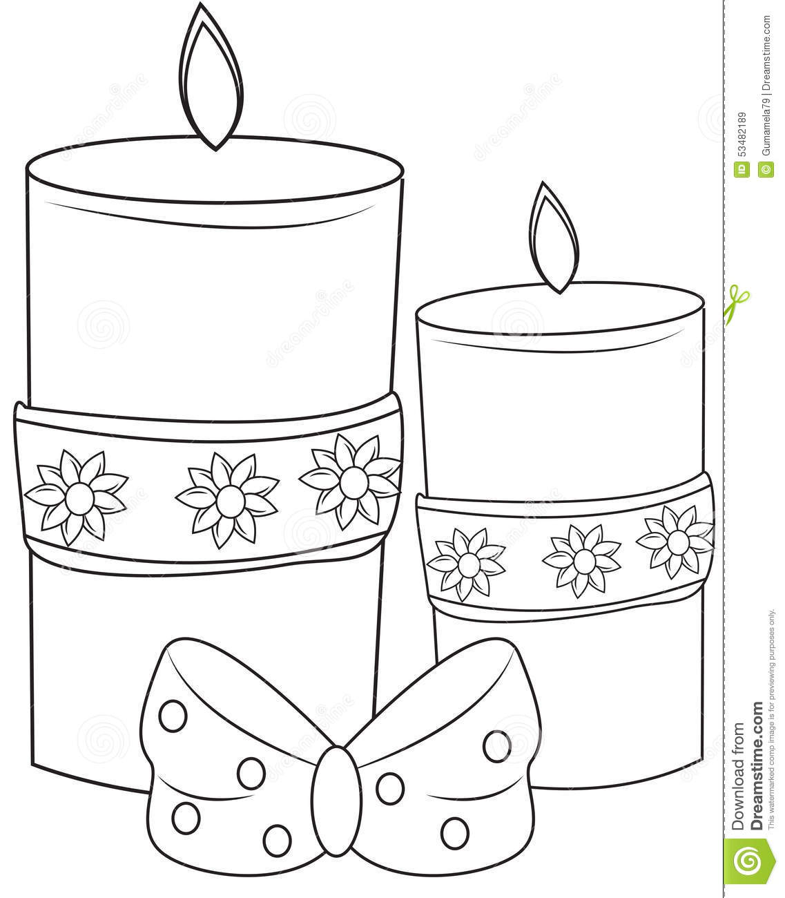 decorative candles coloring page stock illustration