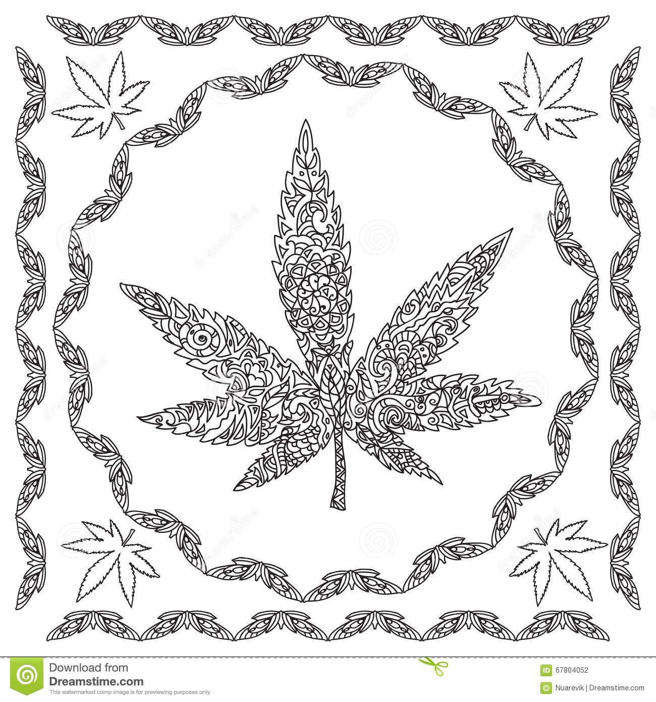 marijuana coloring pages Decorative Cannabis Coloring Page Stock Illustration  marijuana coloring pages