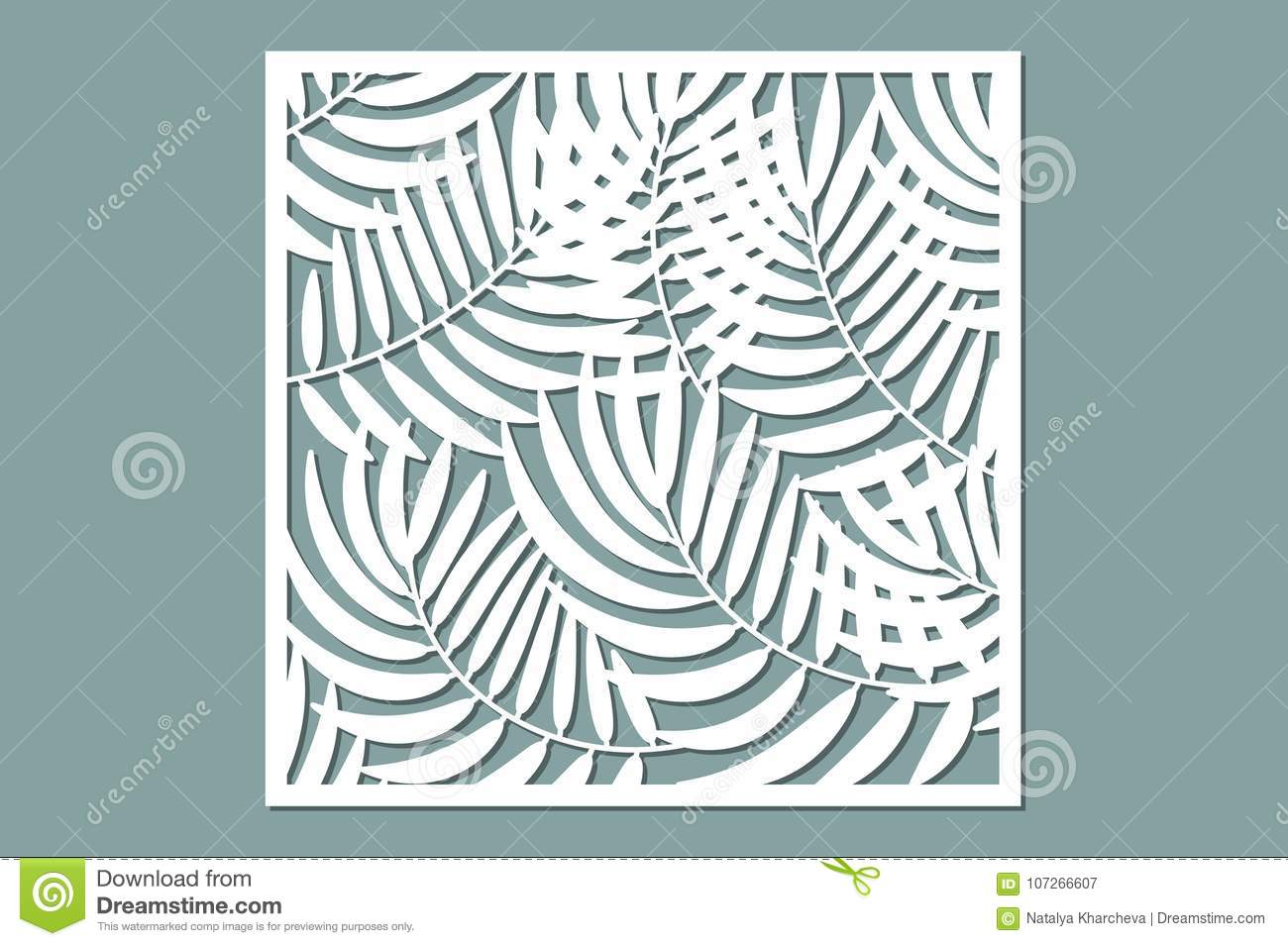 Decorative Card For Cutting Palm Leaf Pattern Laser Cut