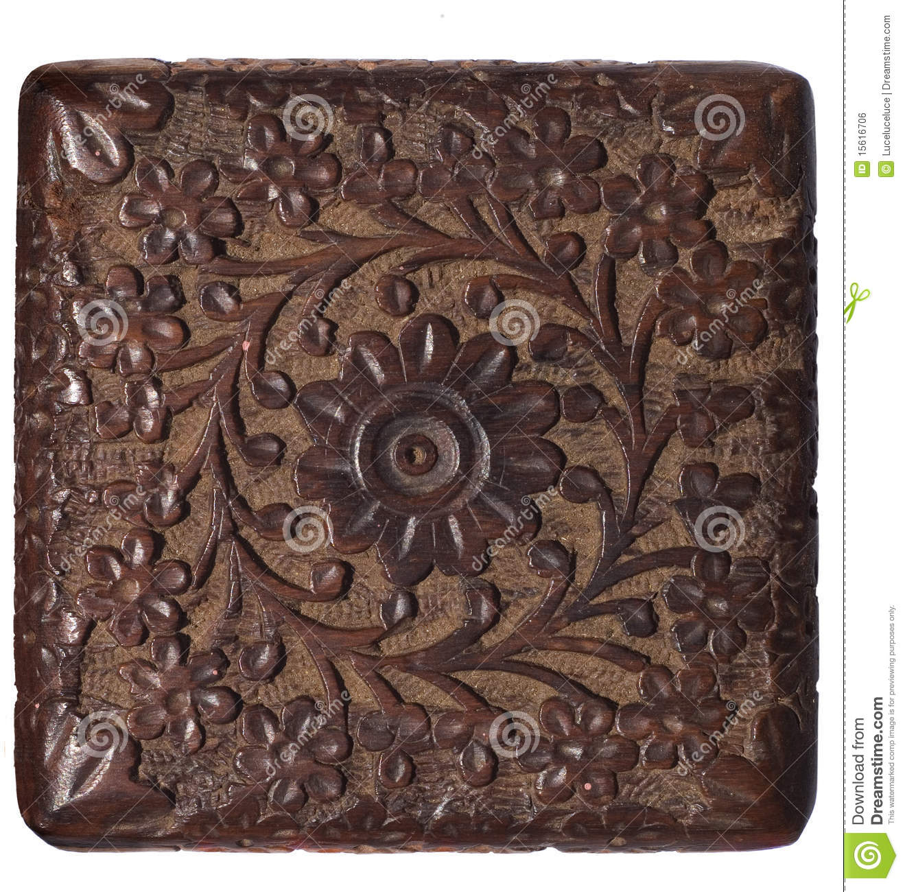 Decorative carved wood panel isolated stock photo image
