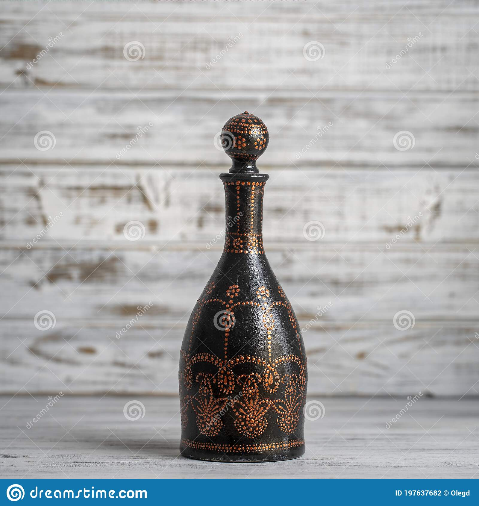Decorative Ceramic Bottle With Black Red And Golden Colors Painted Bottle On White Wooden Background Dot Painting Stock Photo Image Of Decorative Arabic 197637682