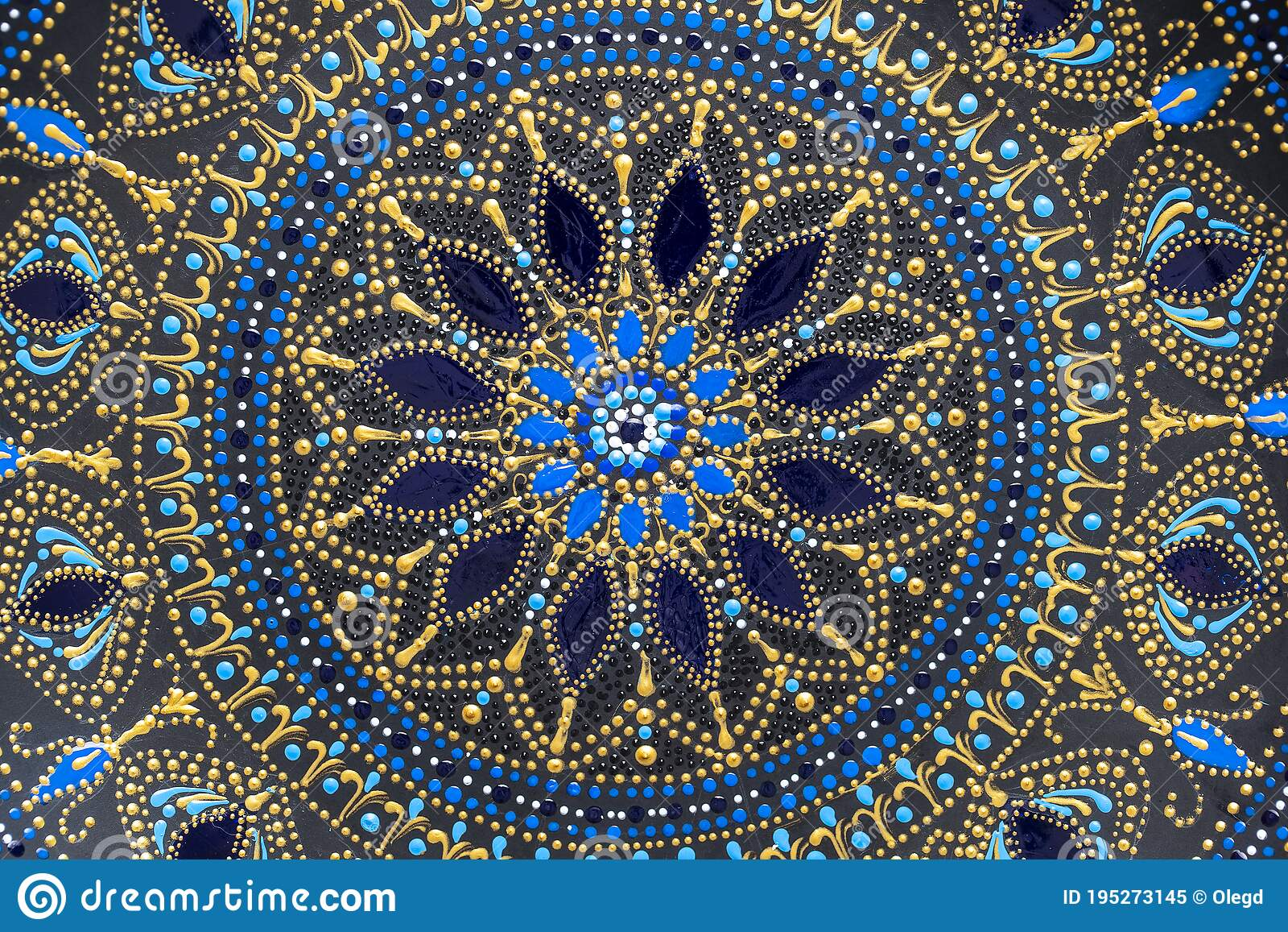 Decorative Ceramic Plate With Black Blue And Golden Colors Painted Plate On Background Dot Painting Stock Image Image Of Abstract Blue 195273145