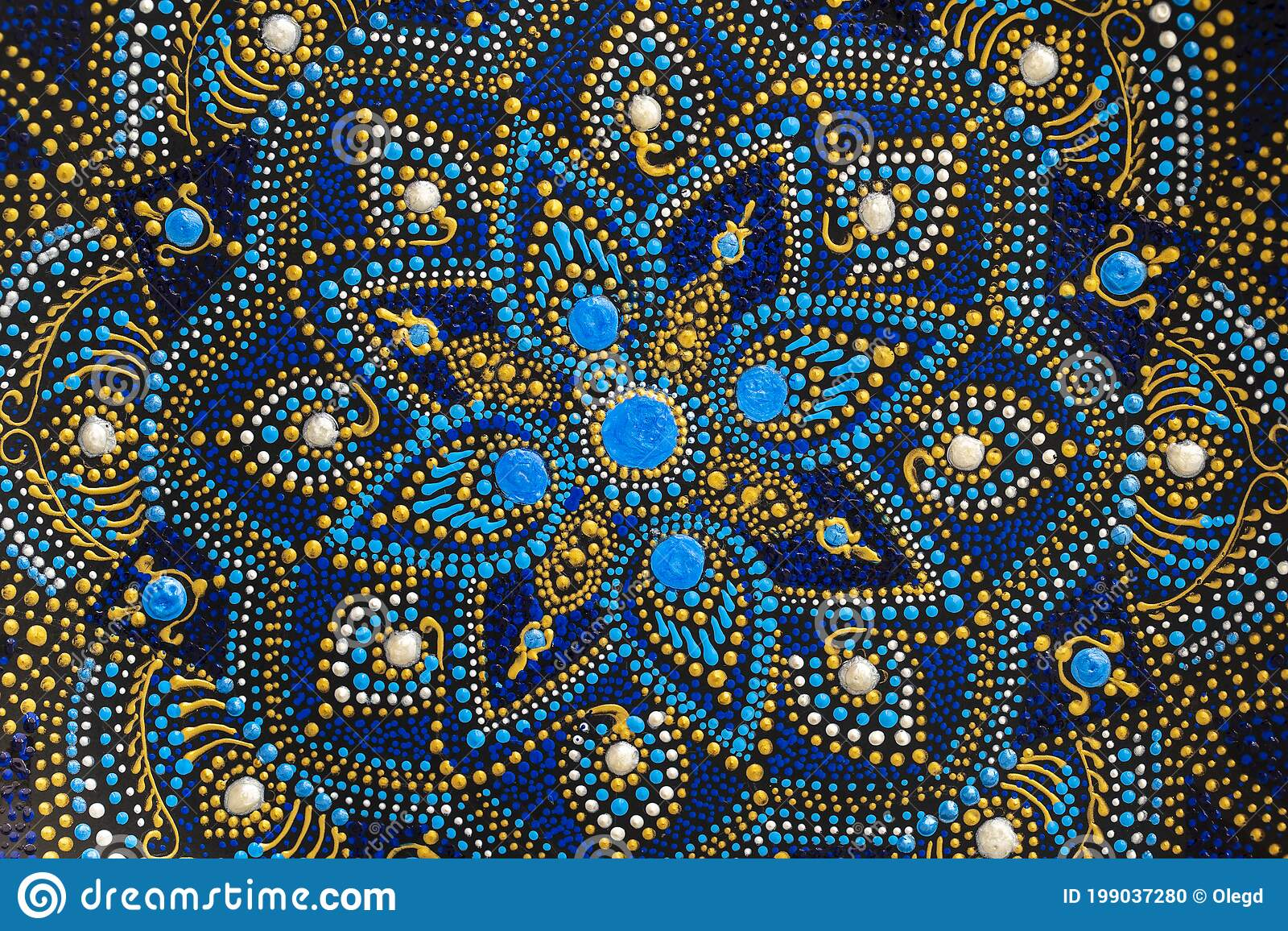 Decorative Ceramic Plate With Black Blue And Golden Colors Painted Plate On Background Dot Painting Stock Photo Image Of Background Handwork 199037280