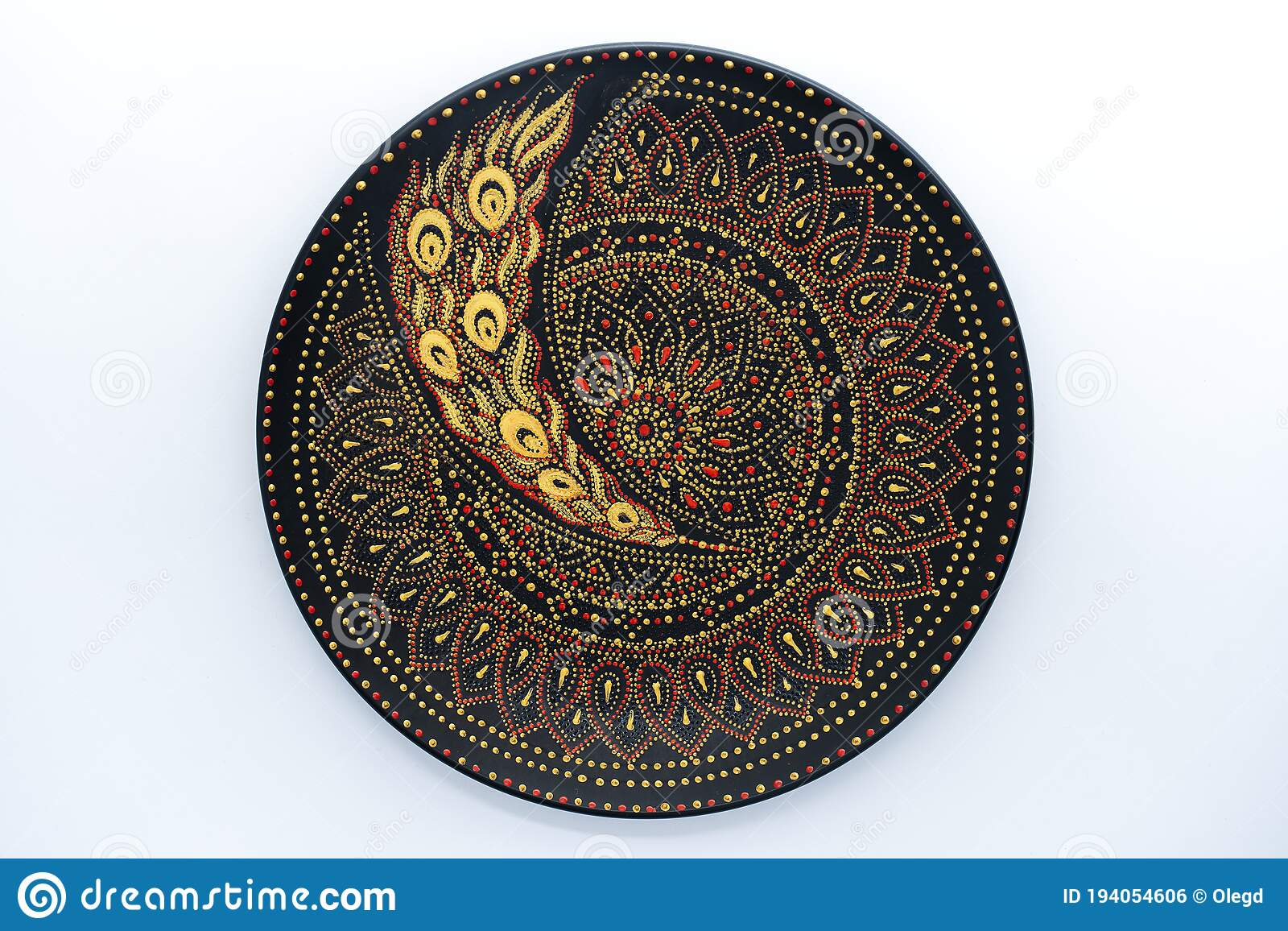 Decorative Ceramic Plate With Black Red And Golden Colors Painted Plate On White Background Dot Painting Stock Photo Image Of Decorative Antique 194054606