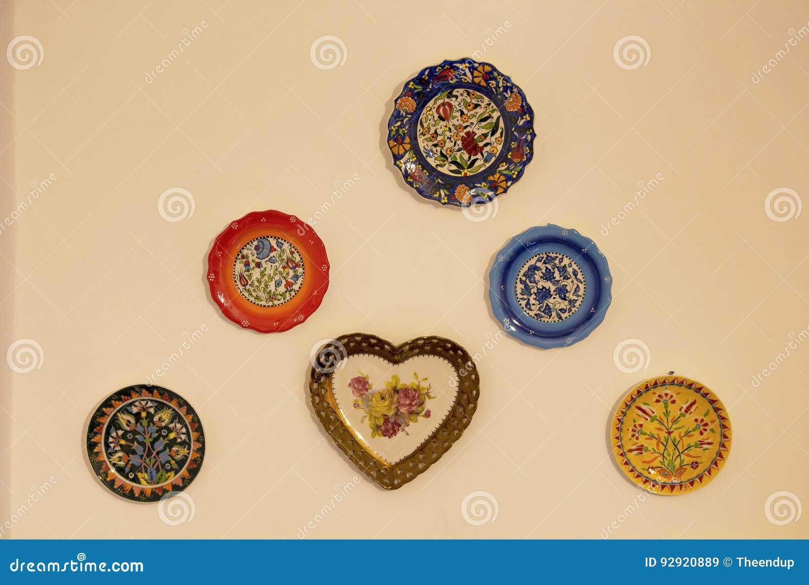 Decorative Ceramic Plates On Beige Wall Stock Image Image Of Handicraft Decor 92920889