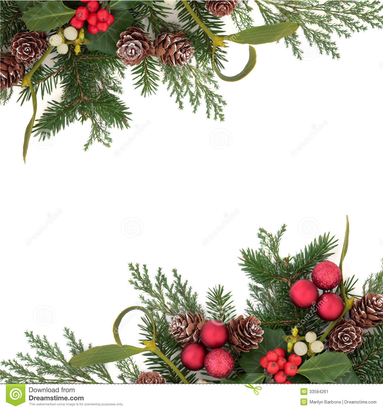 Christmas Traditional Border of Holly Ivy Mistletoe and Image ...