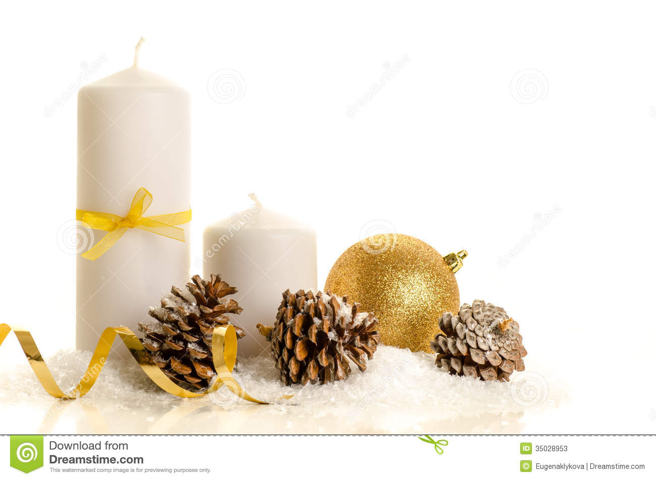Pine Cone Candles Decorative Christmas Composition From White Candle Pine Cones