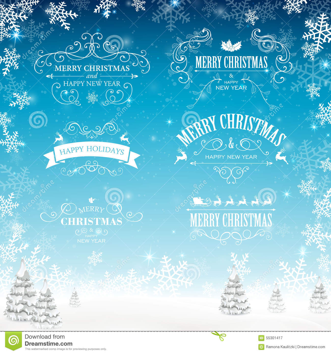 download decorative christmas labels stock illustration illustration of advertising element 55301417 - Decorative Christmas Labels