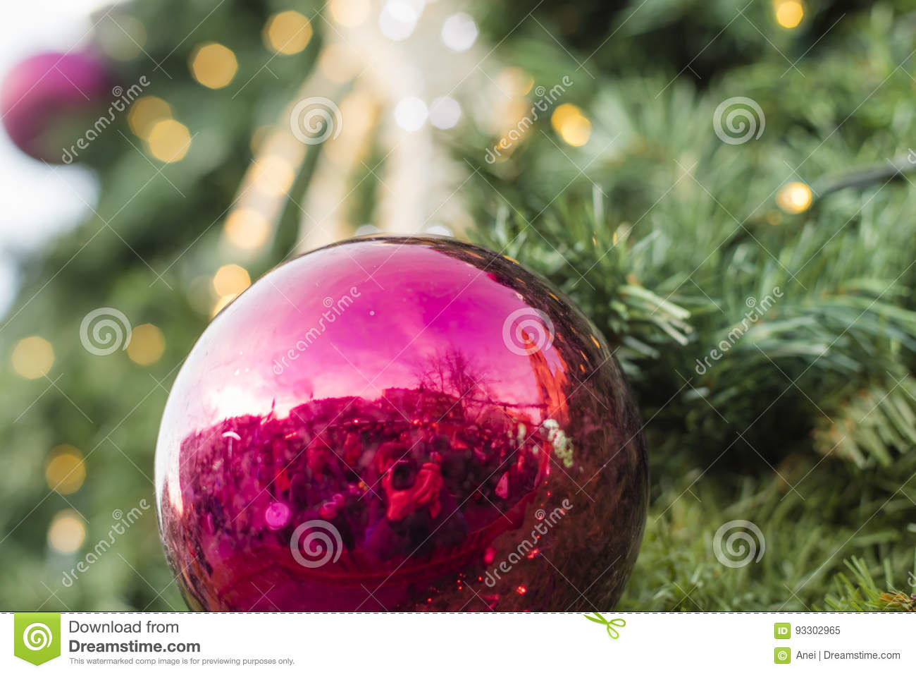 Decorative christmas ornaments baubles and green evergreen for Outdoor christmas baubles