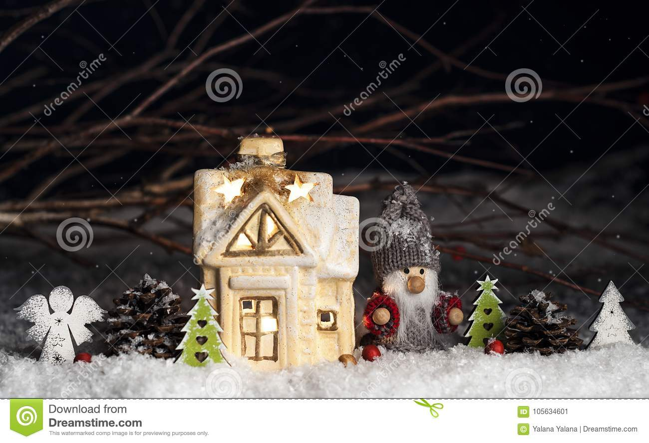 download decorative christmas ornaments house gnome in the snow stock image image of