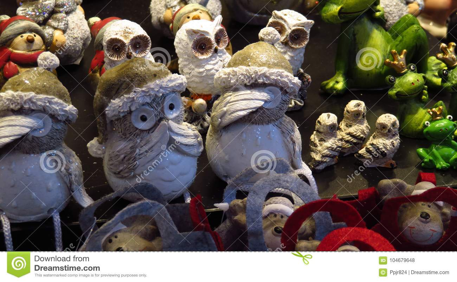 fa715a8e77367 Decorative Christmas Owls With Christmas Hats Stock Photo - Image of ...