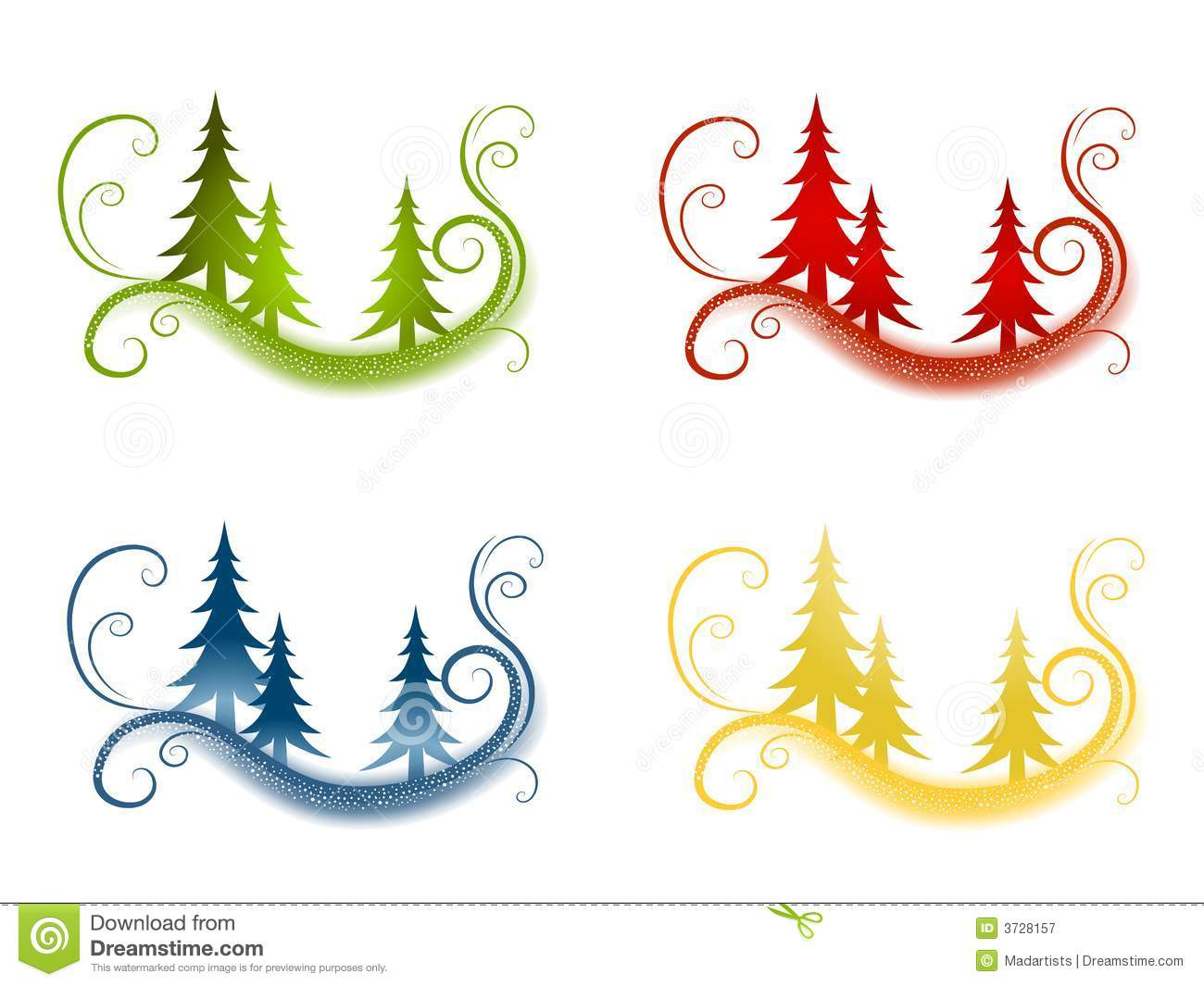 clip art illustration featuring 4 backgrounds of swirling wispy ...
