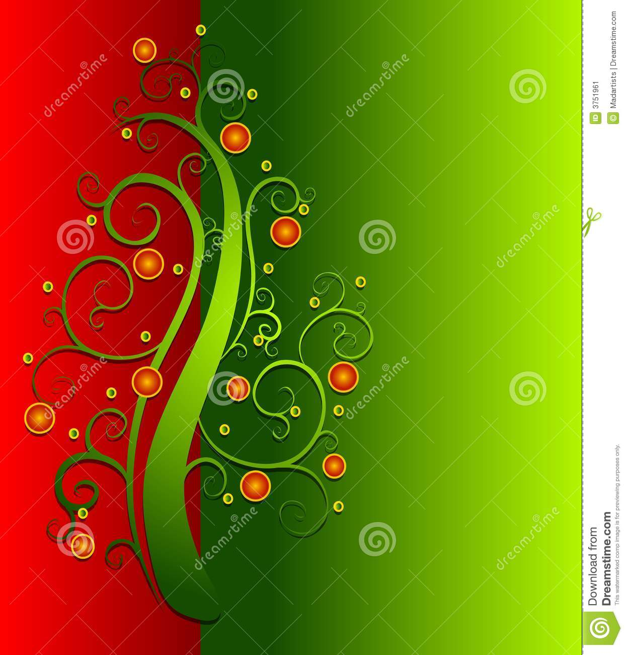 Tree decorated with ornaments set against red and green background