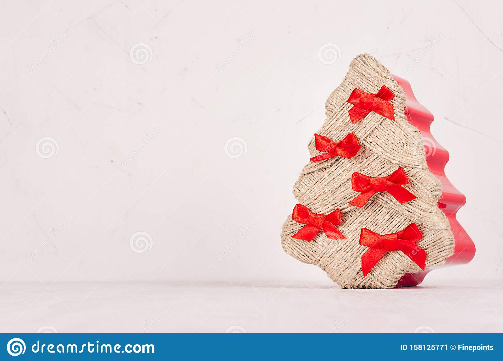 Decorative Christmas Tree Of Twine With Red Bows In Soft Light White Home Interior, Copy Space ...