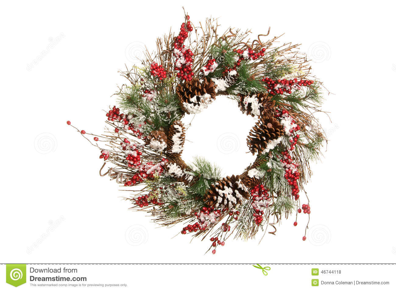 Decorative Christmas Wreath with Branches, Greens and Holly Berries