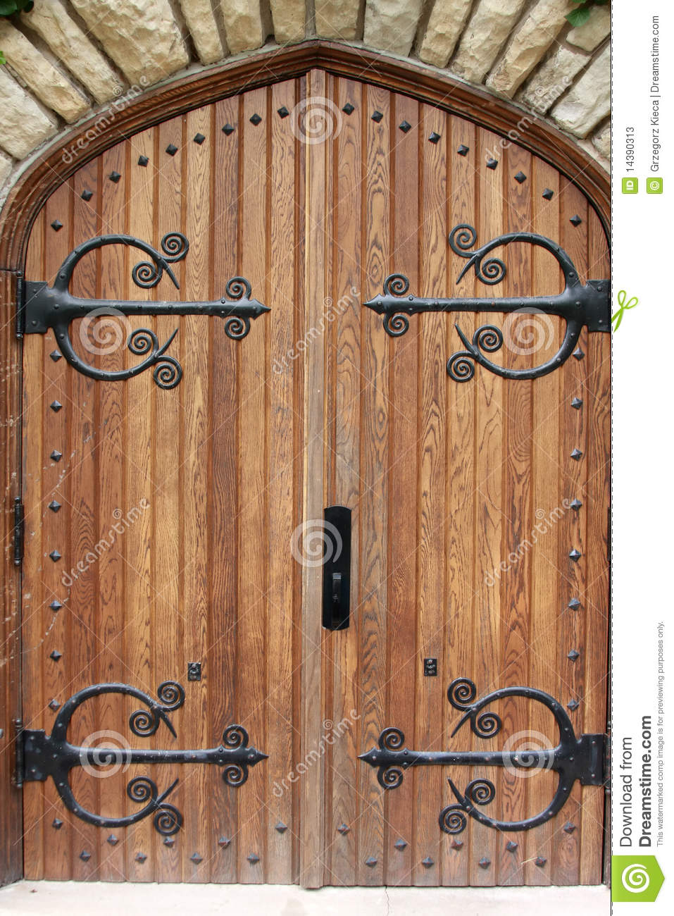 Decorative Church Door With Iron Hinges Stock Image