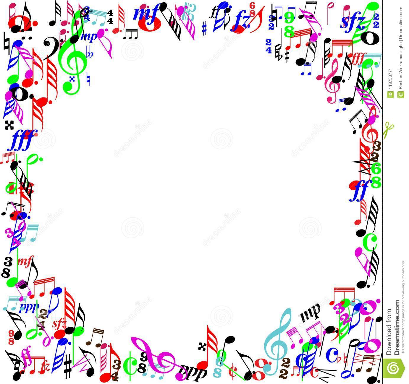 Color Music Sign Page Border Stock Vector , Illustration of