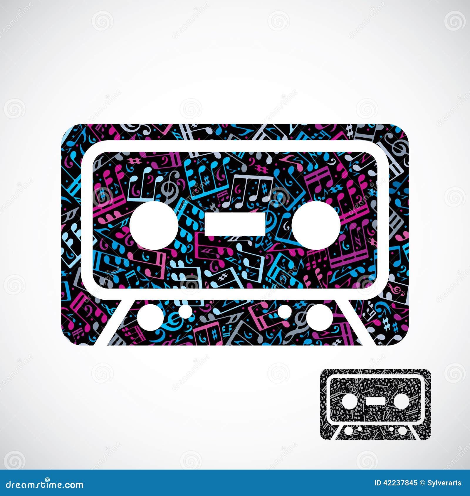 decorative colorful vector cassette tape symbol filled. Black Bedroom Furniture Sets. Home Design Ideas