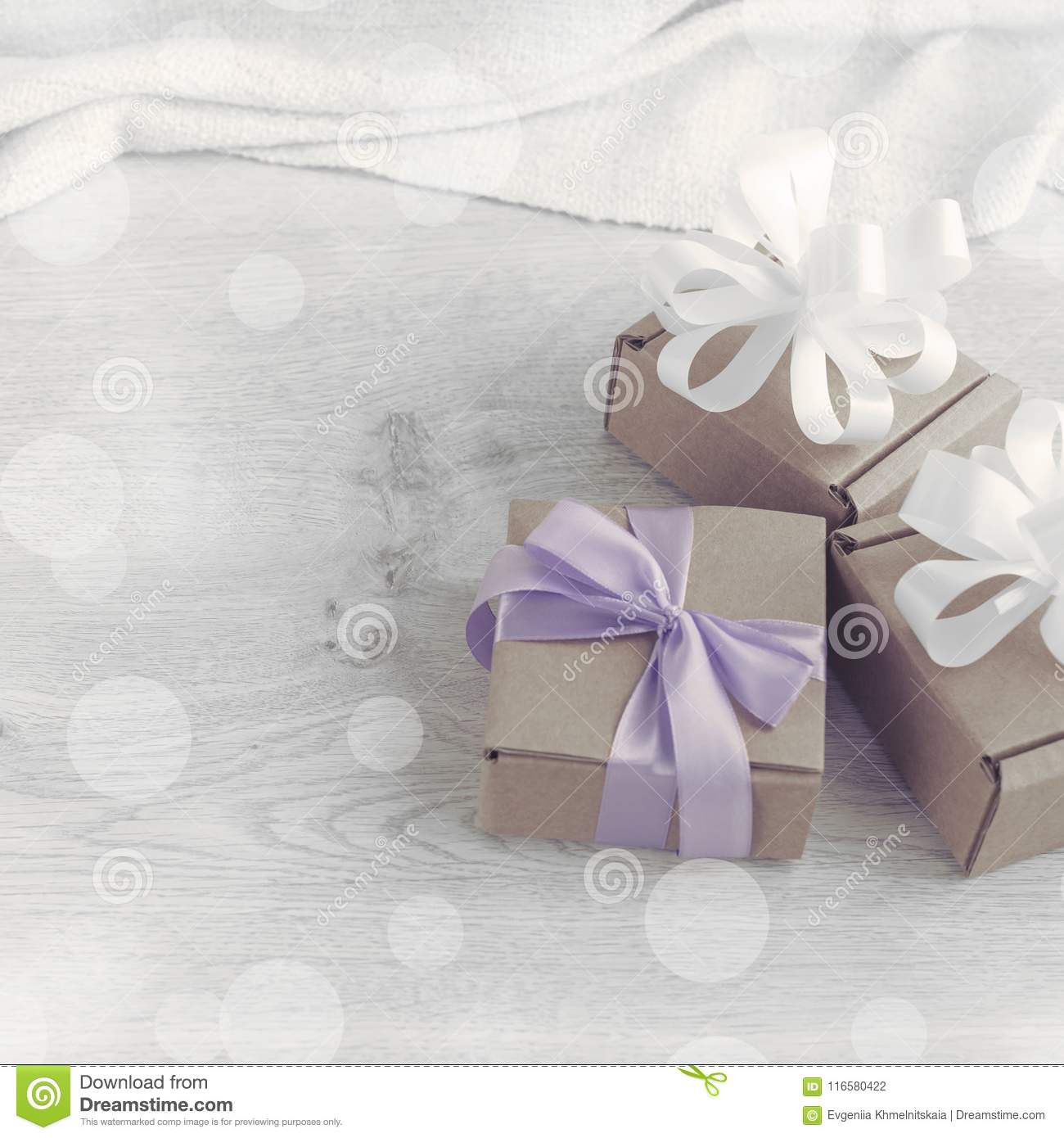 Decorative composition in retro style set of boxes with gifts.