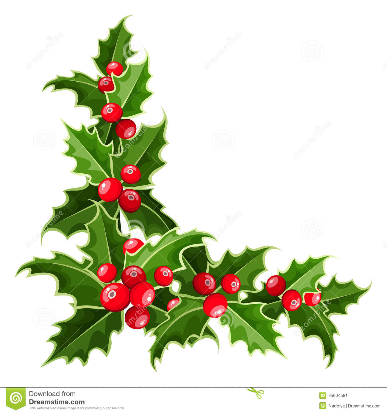 Decorative corner with christmas holly stock vector for Holl image