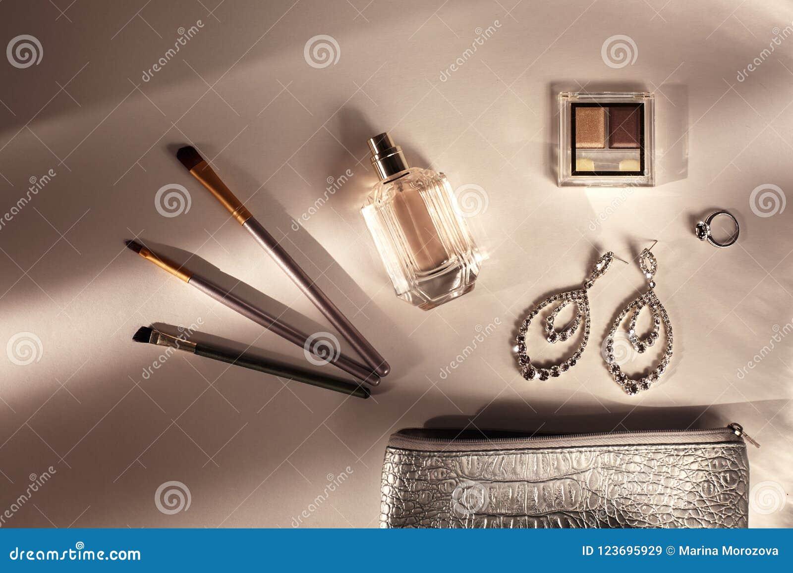 ab260a7bd95c Decorative Cosmetic, Fragrance. Sunny Shadow Background. Shadows ...
