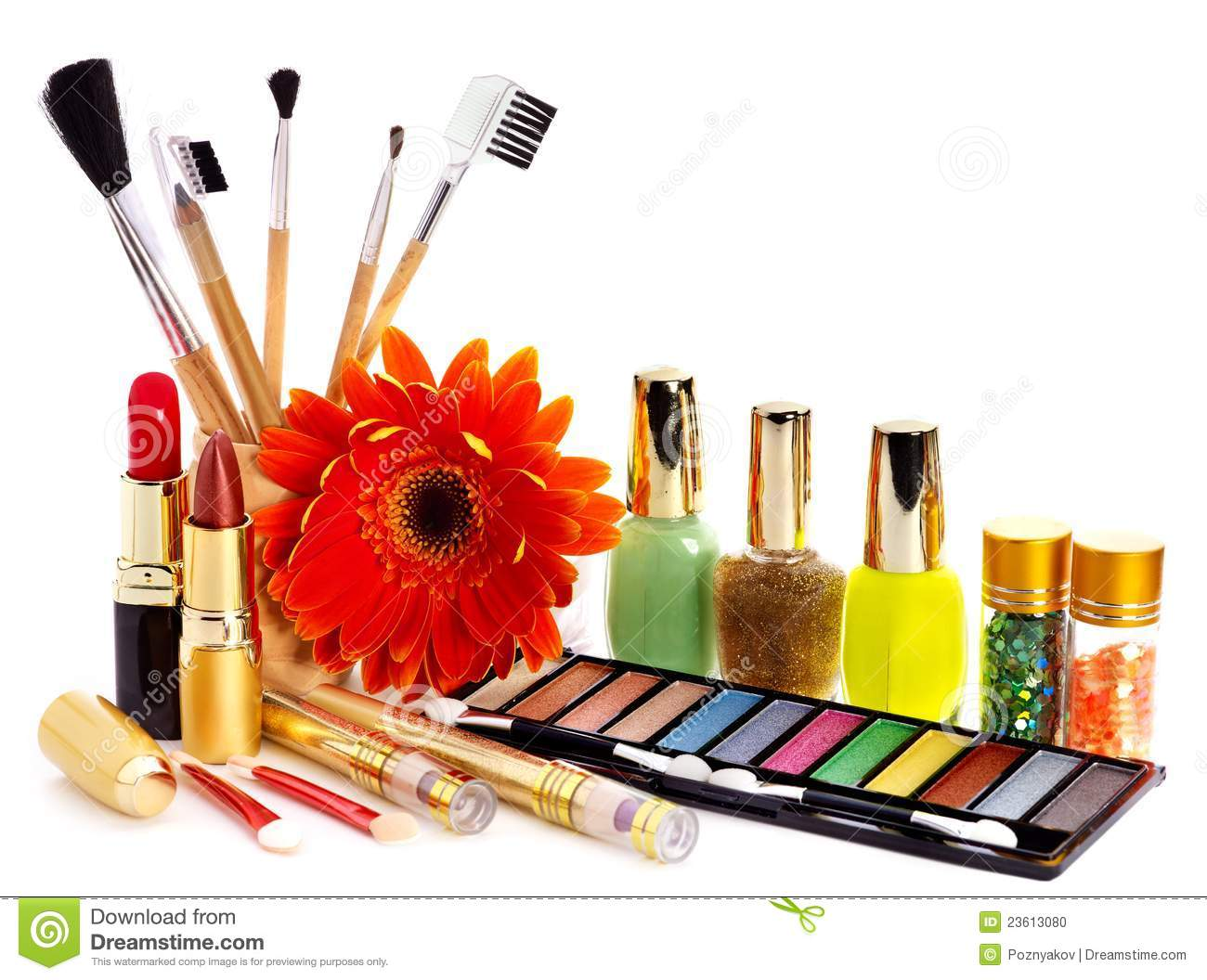 Decorative Cosmetics And Flower Stock Image
