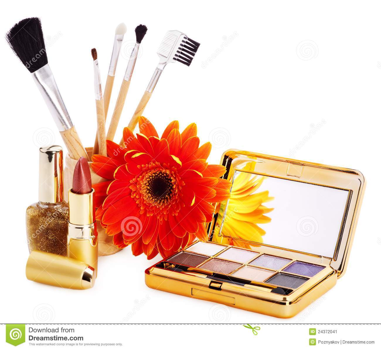 Decorative Cosmetics And Flower Stock Image Image