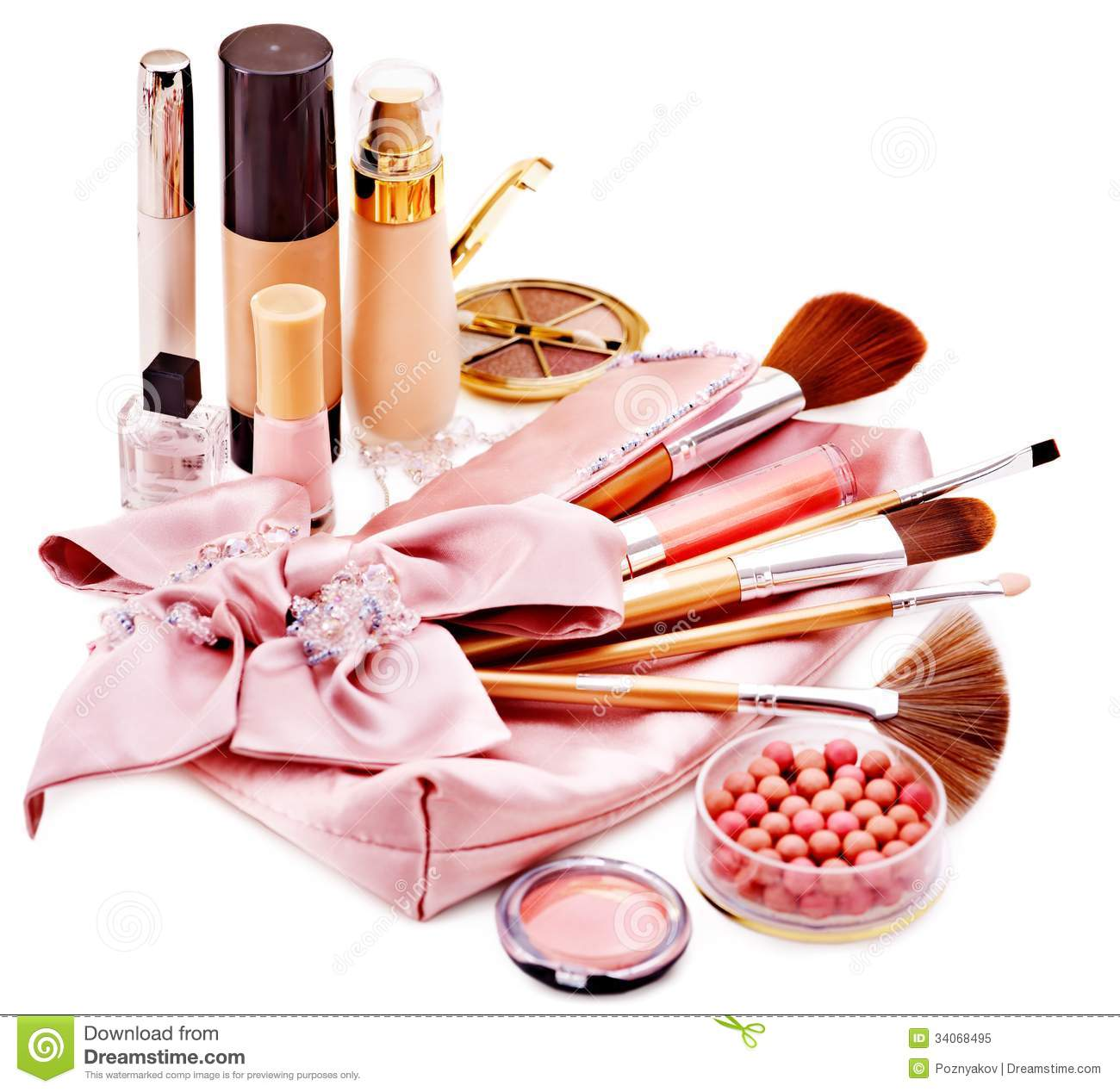 Decorative Cosmetics And Flower Royalty Free Stock Image