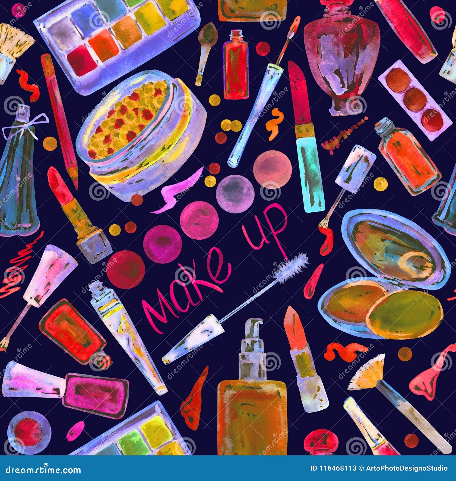 decorative cosmetics make up stuff collection in bright neon colors