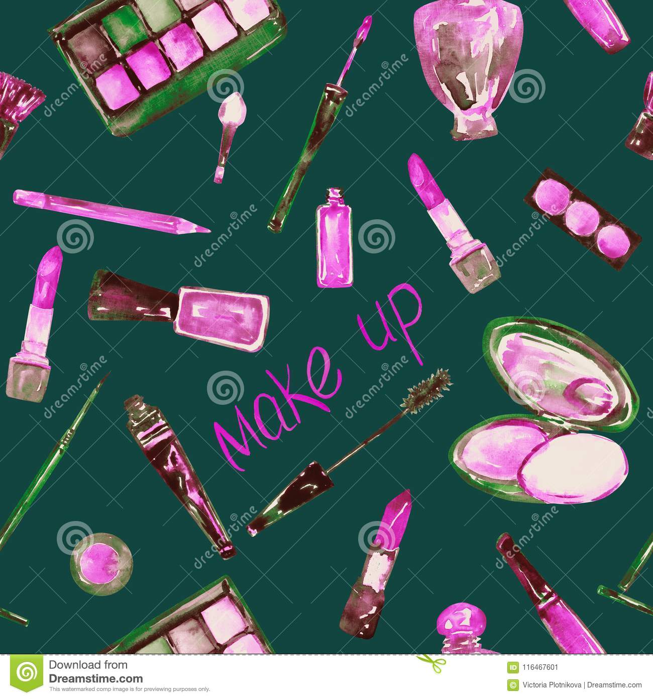 decorative cosmetics make up stuff collection in pink color palette