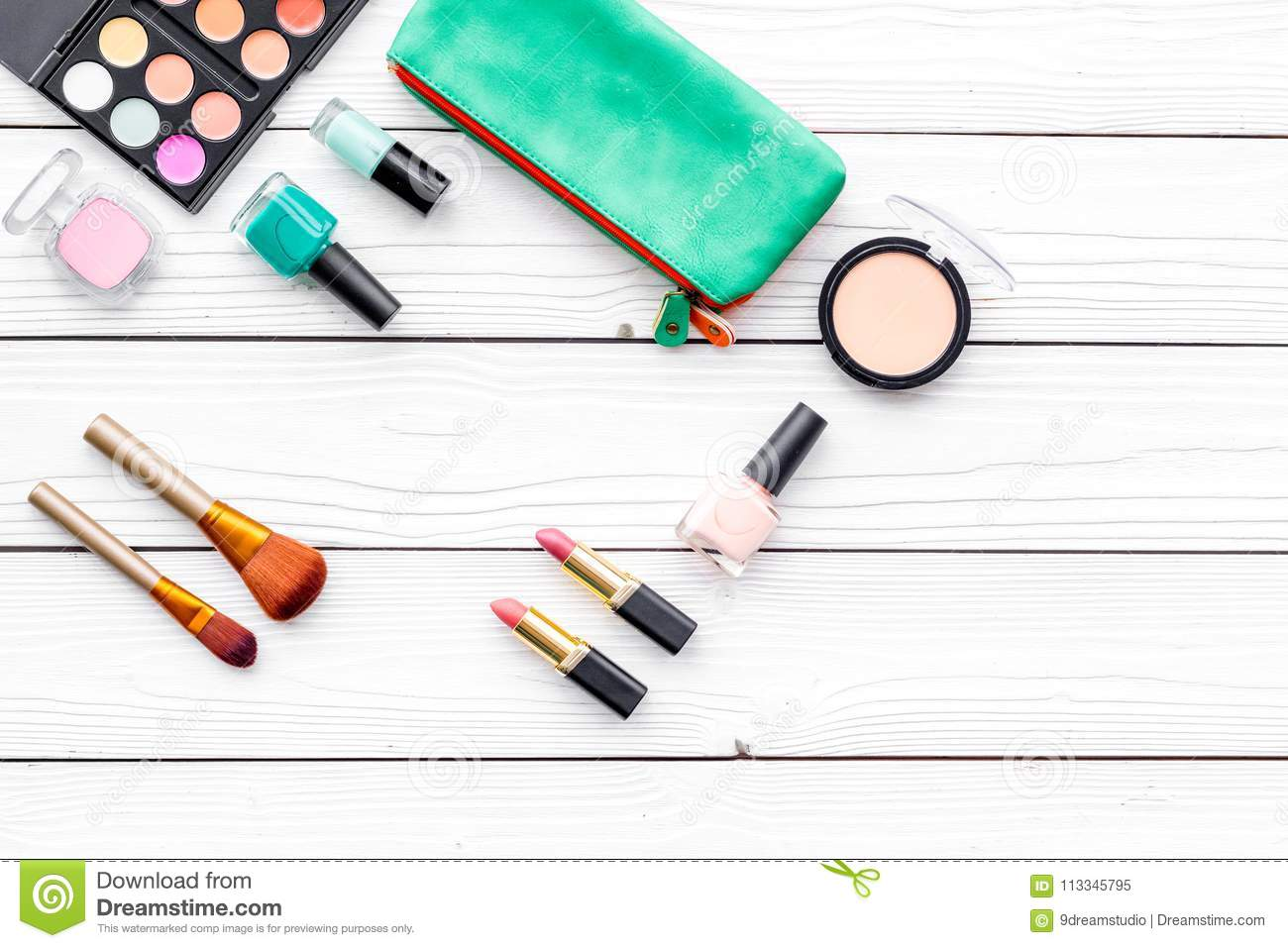 Decorative Cosmetics Set With Brushes, Lipstick, Eyeshadow And Nail ...