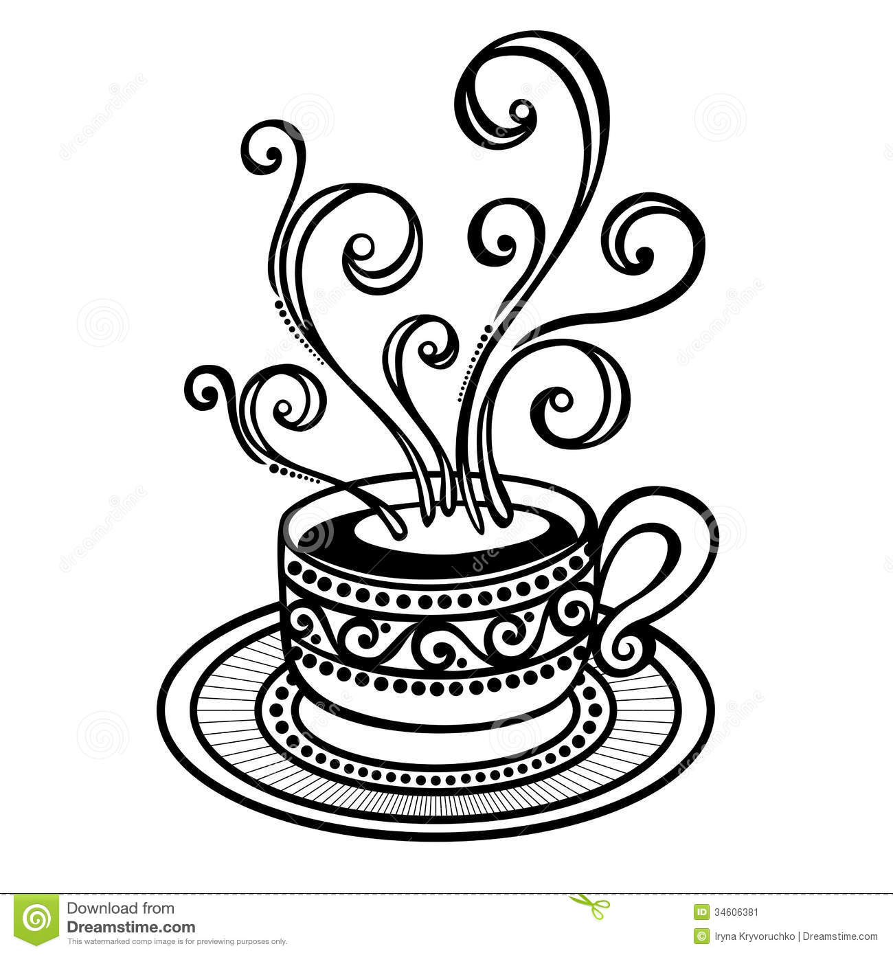 Decorative Cup Of Coffee With Steam Stock Vector ...