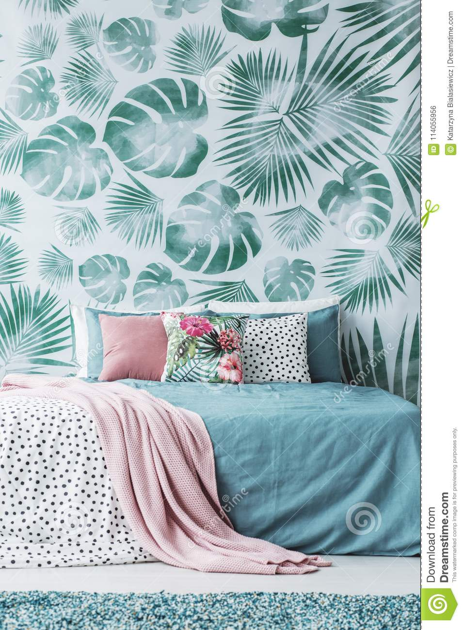 Turquoise Bed By Leaves Wallpaper Stock Photo - Image of green ...