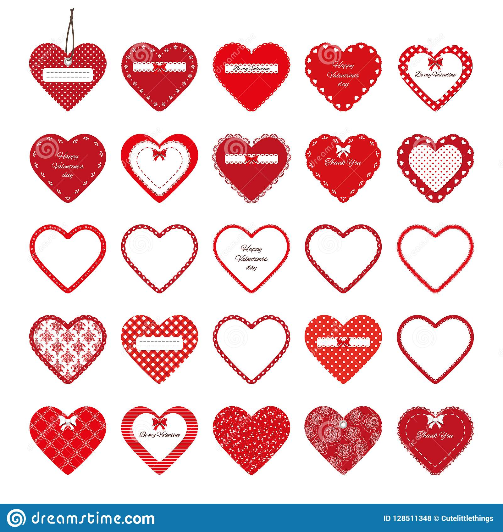dcc60897105 Decorative Cut Out Hearts Set Isolated On White. Stock Illustration ...
