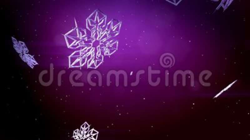 decorative 3d snowflakes fall on a purple background use as