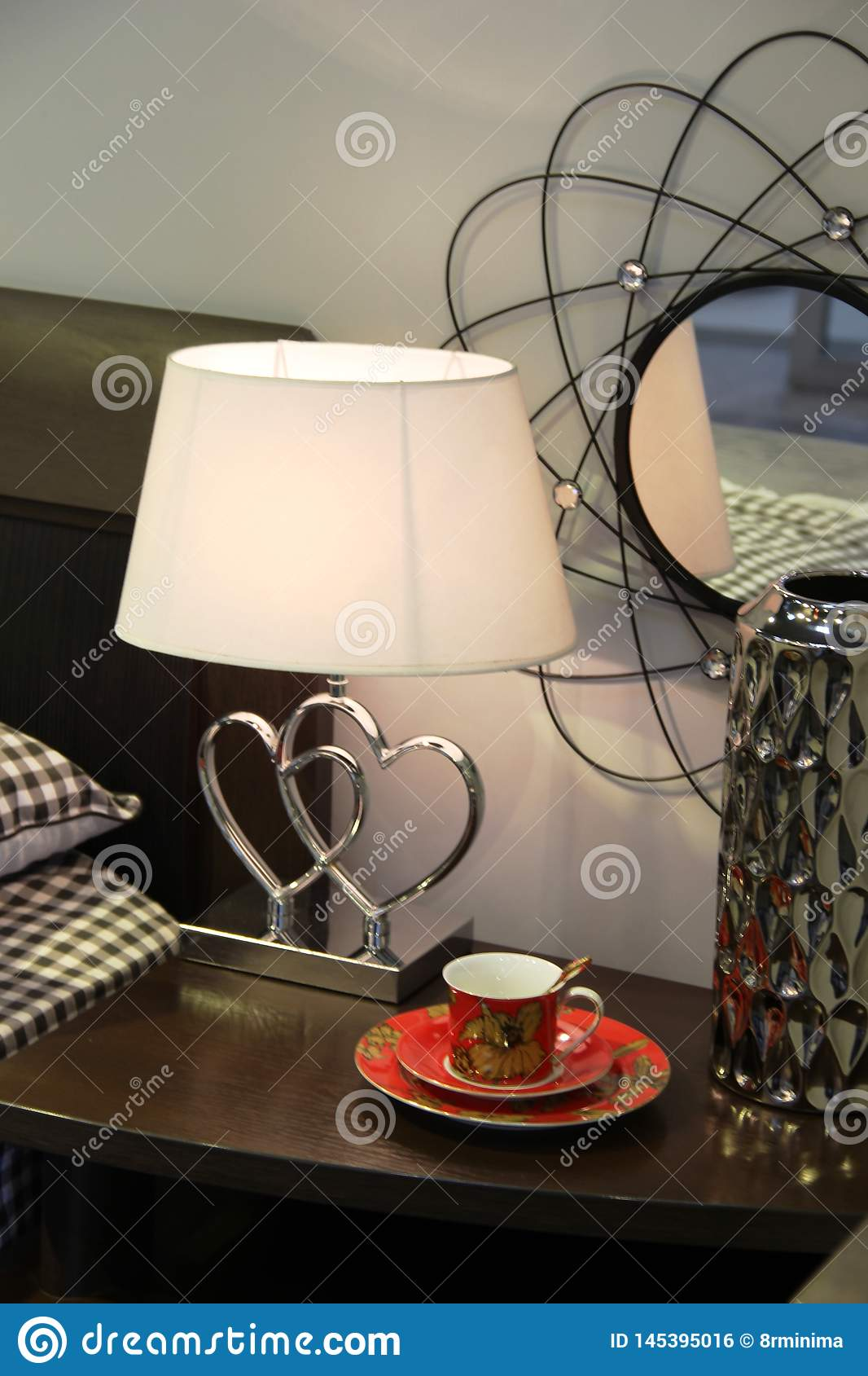 Decorative design of the bedside table area in the sales area of the furniture store