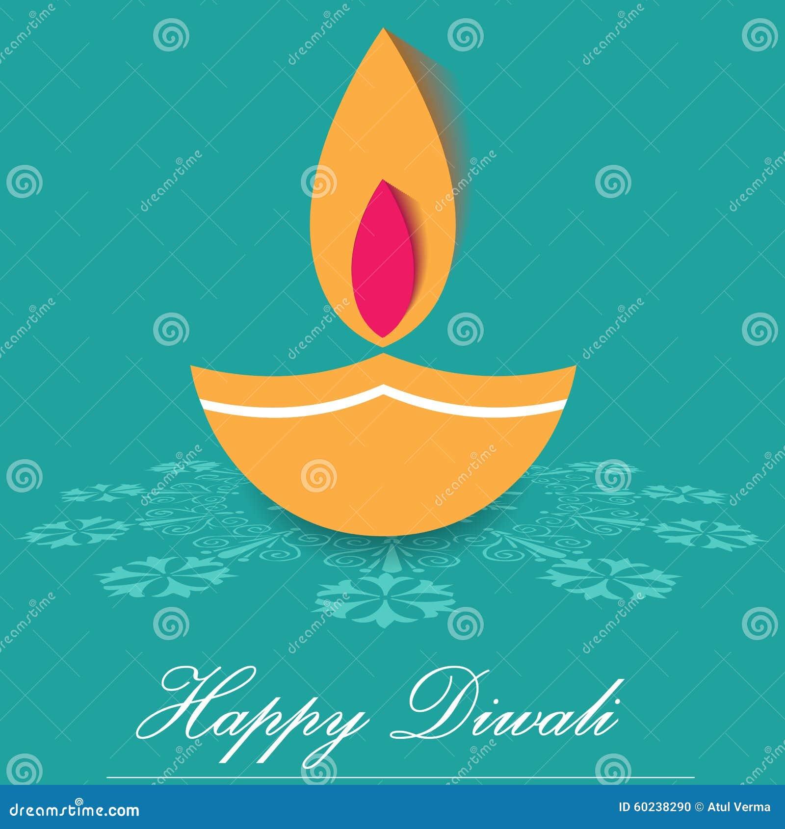 Decorative Diwali Lamps Happy Diwali Greeting Card Flat Design
