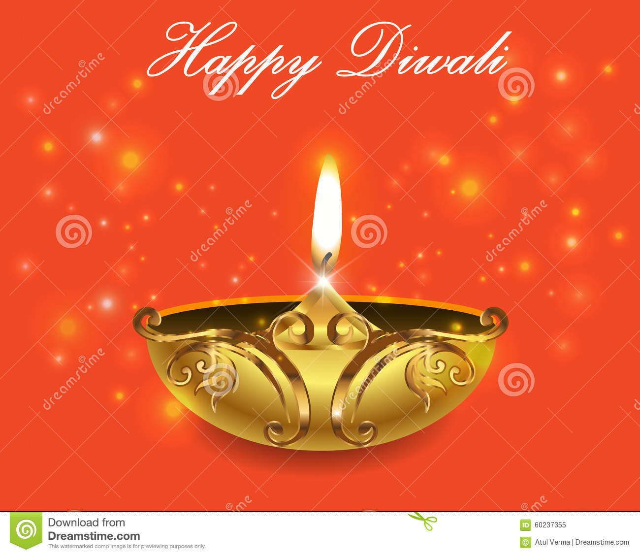 Decorative Diwali Lamps Happy Diwali Greeting Card Stock Vector