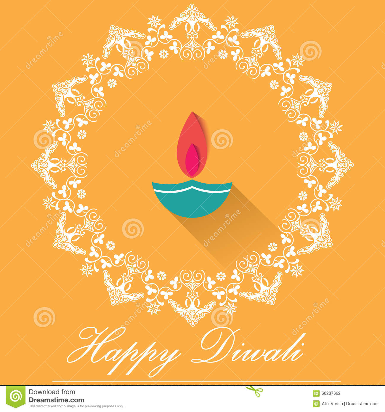Decorative Diwali Lamps Happy Diwali Greeting Card Flat Design