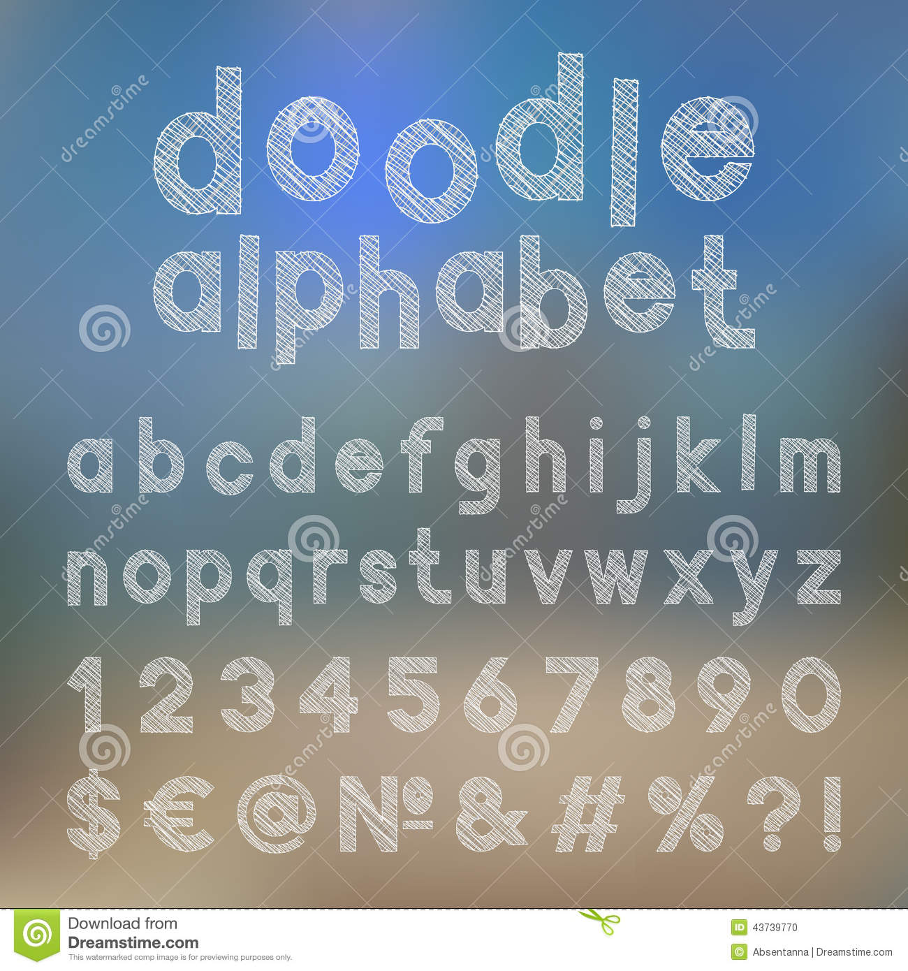 Decorative doodle alphabet